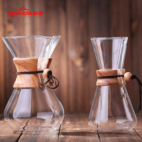 600ml/800ml Heat Resistant Glass Coffee Pot Coffee Brewer Cups Counted Coffee Maker Barista Percolator