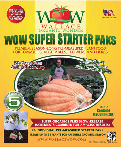 Super Starter Paks - Season-Long Fertilizer Wallace Organic Wonder - 24 paks per bag