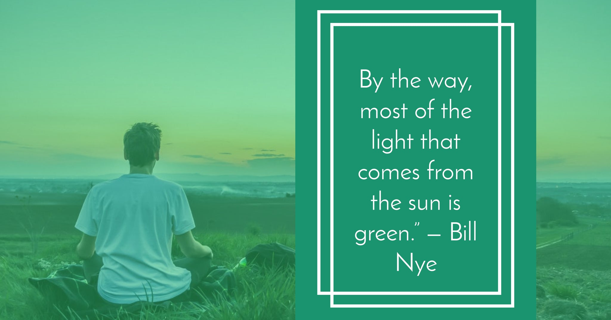 """By the way, most of the light that comes from the sun is green."" Bill Nye"