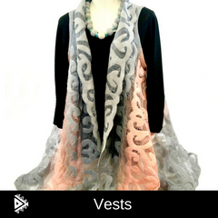 Hand felted silk vest from Kyrgyzstan- grey & peach