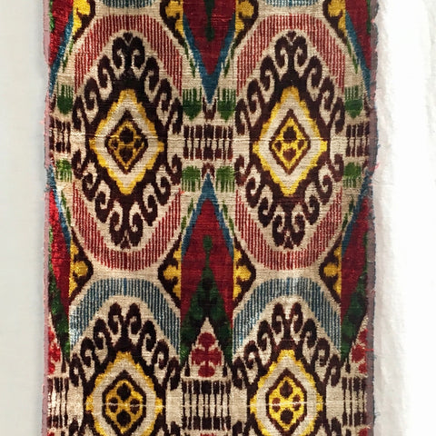 Handwoven Silk Ikat Velvet-Tribal Multi-Color