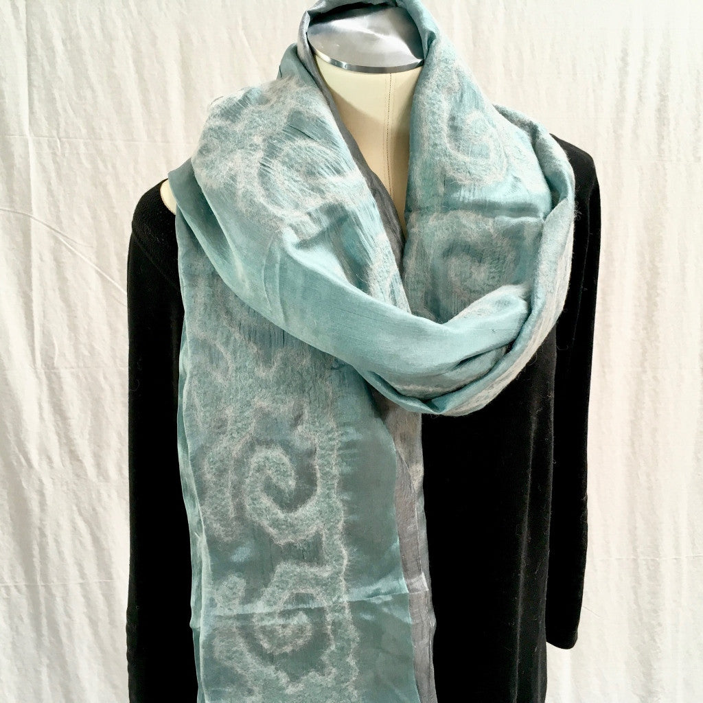 Silk and Felted Scarf/Shawl, Double-Sided, Turquoise & Grey