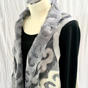 Silk and Felted Long Vest, Grey & White