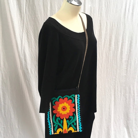 Hand-Embroidered Shoulder Bag