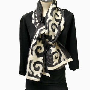 Black & White Short Felted Silk Scarf from Kyrgyzstan with Tribal Patterns