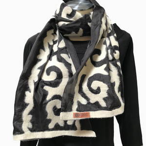 Black & White Felted Silk Scarf-Short with Tribal Patterns