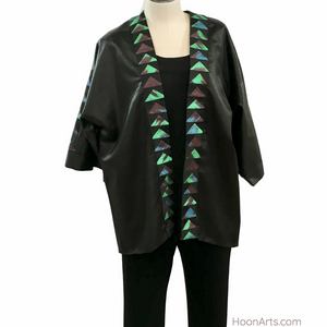 Black Silk Kimono Jacket with Handwoven Turquoise Uzbek Ikat Accents