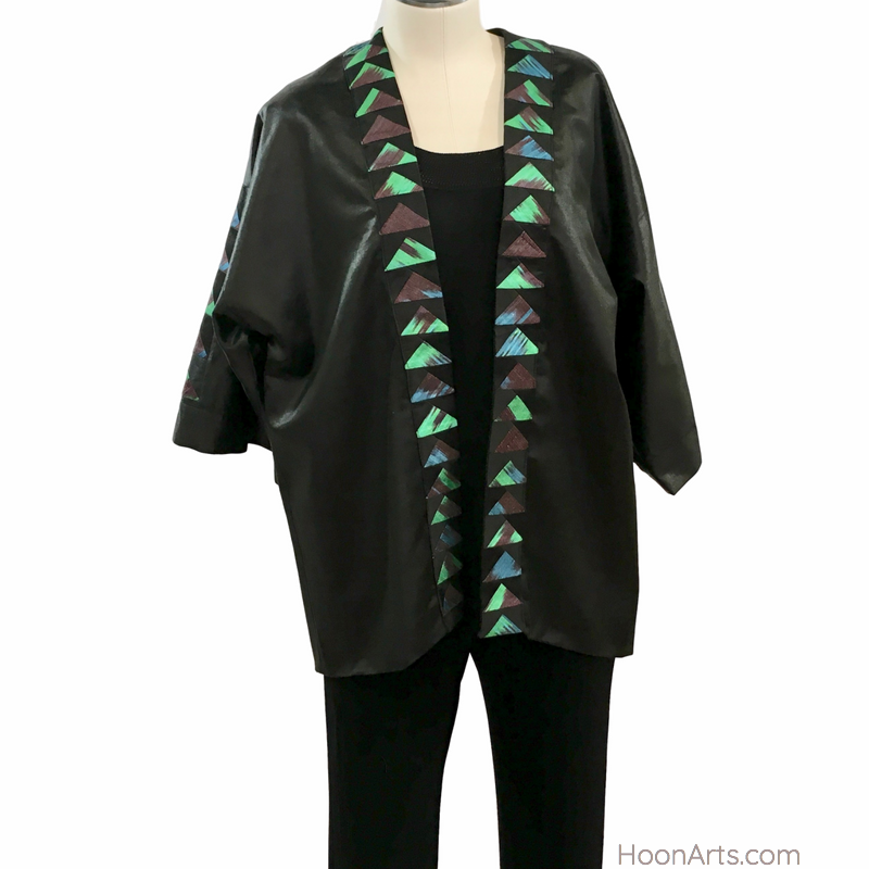 Black Silk Kimono Jacket with Turquoise & Green Patchwork