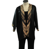 Black Silk Kimono with Gold Uzbek Ikat Accents