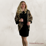 Handwoven Silk Ikat Kimono Jacket, Black & Gold with Patchwork Accents