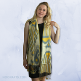 Uzbek Ikat Scarf-Cotton/Silk Blend-Yellow & Blue on Cream