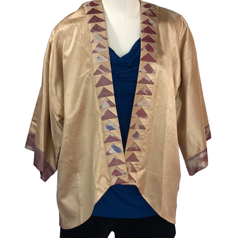 Handwoven Silk Ikat Kimono Jacket, Gold with Red & Blue
