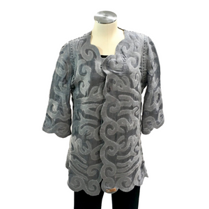 Grey Felted Silk Jacket From Kyrgyzstan
