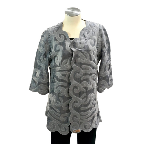 Long Kyrgyz Felted Silk Jacket, Reversible, Charcoal & Grey