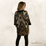 Handwoven Silk Kimono Jacket, Black & Gold Ikat w/ Black Lapels