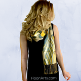 Uzbek Silk/Cotton Ikat Scarf-Cream, Yellow & Blue