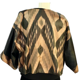Short Silk Ikat Kimono Jacket-Black & Gold Double Panel Back