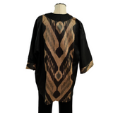 Black & Gold Silk Kimono with Handwoven Uzbek Ikat
