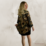 Silk Ikat Kimono Jacket-Black & Gold with Patchwork Accents