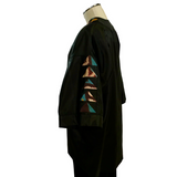 Handwoven Silk Ikat Kimono Jacket, Black With Turquoise, Brown & Ivory Patchwork Accents
