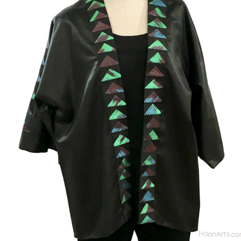 Black Silk Kimono Jacket, With Turquoise & Green Ikat Patchwork Accents