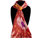 Uzbek Silk Ikat Scarf-Red with Yellow & Purple Accents