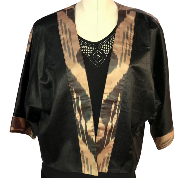 Short Black & Gold Silk Ikat Jacket