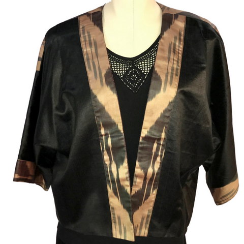 Silk Ikat Kimono Jacket (Short)-Black & Gold (Double Ikat Panel Back)