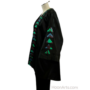 Black Silk Kimono with Turquoise & Green Silk Ikat Patchwork Accents
