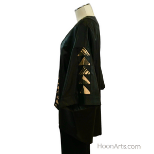 Black Silk Kimono Jacket, With Gold & Black Ikat Patchwork Accents