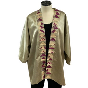 Handwoven Silk Ikat Kimono Jacket, Pale Gold with Purple Patchwork Accents