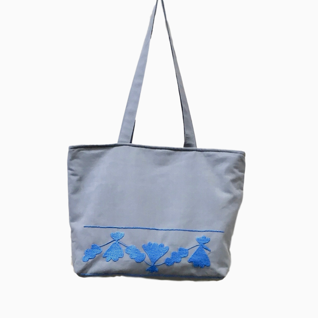 Hand-Embroidered Blue & Grey Tote Bag from Tajikistan