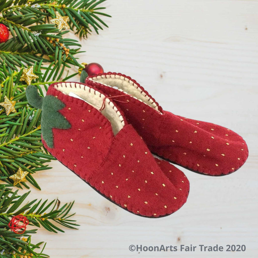 Adorable adult zooties-handmade, fair trade merino wool slippers from Kyrgyzstan, designed to look like giraffes