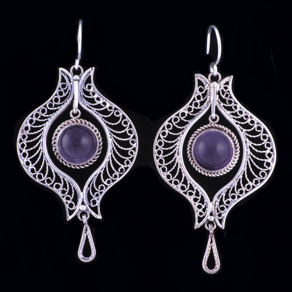 Sterling Silver Filigree Dangle Earrings Tajik Handmade w Amethyst - HoonArts