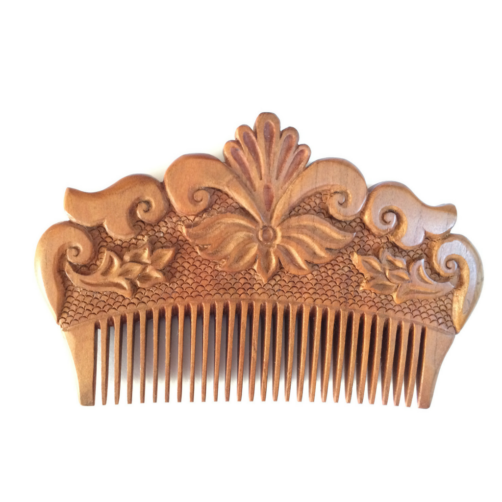 Hand carved ornamental wooden comb small fair trade