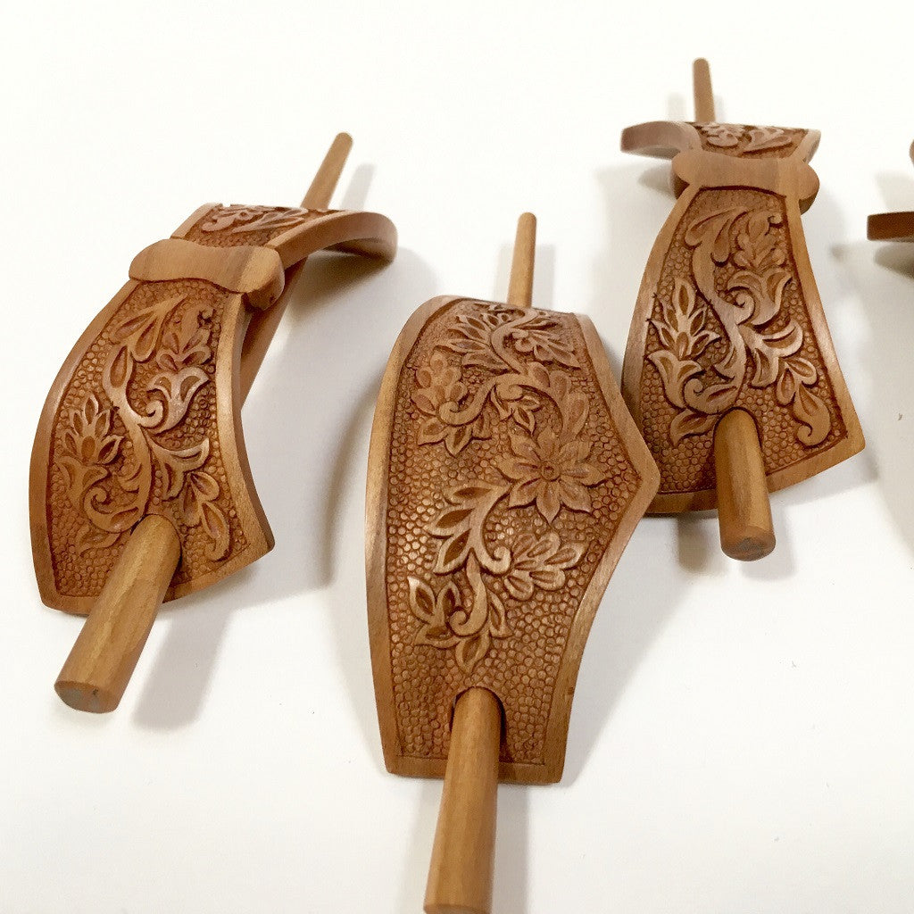 Hand carved ornamental wooden barrettes hair stick apricot fair
