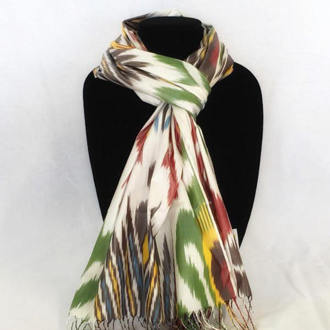 Ikat Silk Scarf-Green Tribal