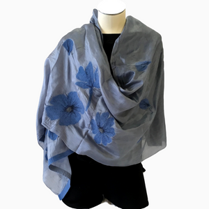 Kyrgyz Silk and Felted Scarf, Blue Poppies on Light Grey