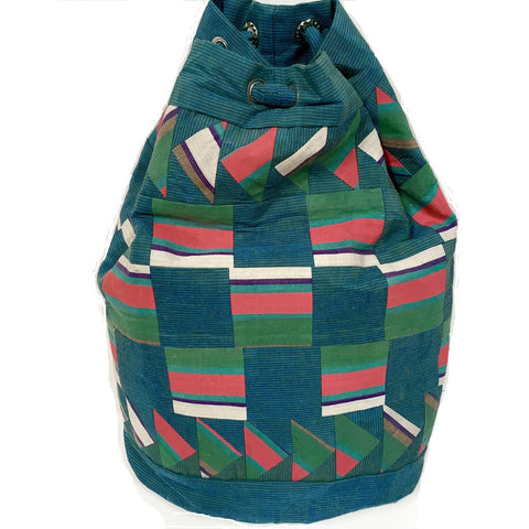 Silk Patchwork Backpack Bag-Blue, Turquoise & Pink