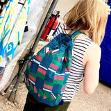 Silk Patchwork Backpack Bag-Blue, Turquoise & Pink - HoonArts - 3