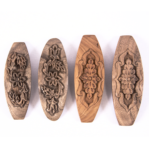 Hand Carved Ornamental Wooden Barrettes, Clip-Walnut & Apricot - Fair Trade - HoonArts - 1