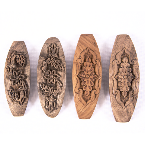 Hand Carved Ornamental Wooden Barrettes, Clip-Walnut & Apricot - Fair Trade