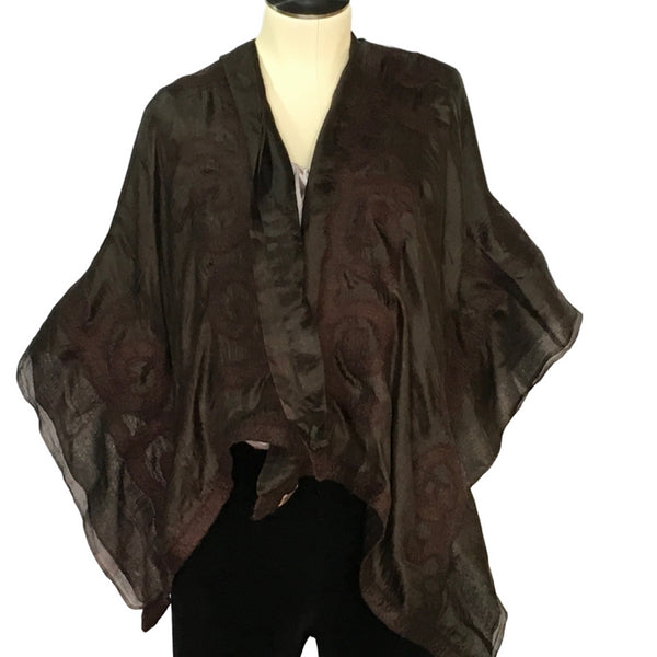 Black  Kyrgyz  Felted  Silk  Scarf/Shawl,  Double-Sided