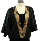 Black & Gold Silk Ikat Short Jacket-Uzbek