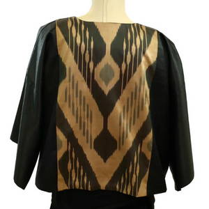 Uzbek Silk Ikat Short Jacket-Black & Gold