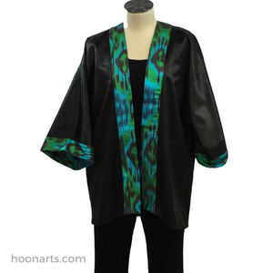 Black Silk Kimono with Handwoven Turquoise Ikat Accents