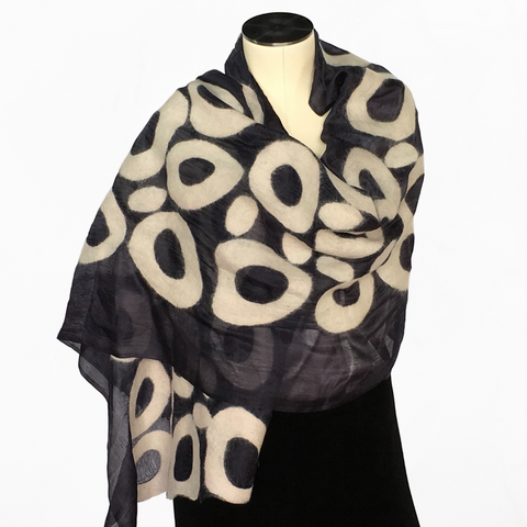 Kyrgyz Hand-felted Silk Scarf/Shawl, Black & White Circles