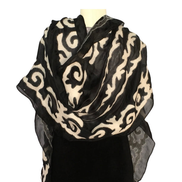 Black & white hand felted silk Kyrgyz scarf with tribal patterns