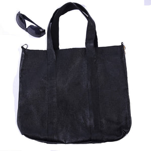Yak Leather Totebag-Black- Fair Trade - HoonArts - 2
