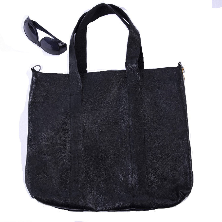 Yak Leather Totebag-Black- Fair Trade - HoonArts - 1
